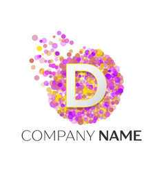 Letter d logo with purle particles and bubble dots vector