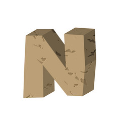 letter n stone font rock alphabet symbol stones vector image