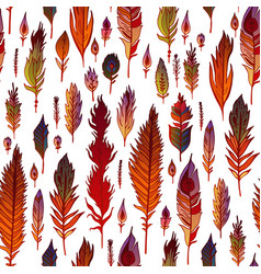 multicolored feathers seamless pattern vector image