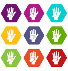 parent and child hands together icon set color vector image
