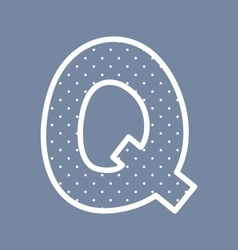 Q alphabet letter with white polka dots on blue vector image