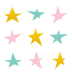 set collection of colorful asymmetrical stars vector image vector image