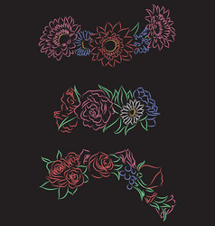 Set of chalk contour drawing of flower wreaths vector