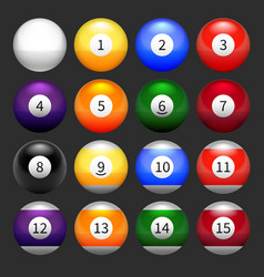Set of pool balls vector image vector image