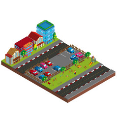 Two scene with buildings and cars in 3d design vector