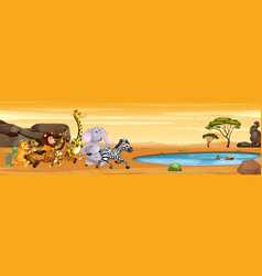 wild animals running to the pond vector image
