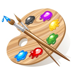 wooden art palette vector image vector image