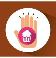 Two hands holding muffins vector