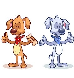 Character dog with a finger up vector