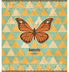 Butterfly vintage mosaic pattern vector