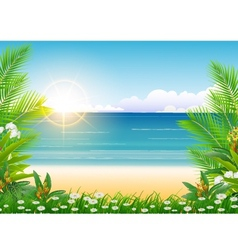 Beauty sunny blue sky and palm tree vector