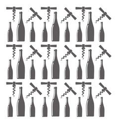 Bottle wine and corkscrew seamless pattern design vector