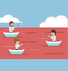 Business people fishing in red ocean vector