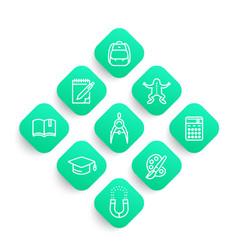 School line icons set college graduation vector