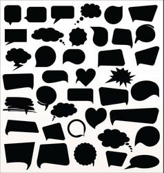 Black speech bubbles collection vector