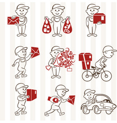 Courier with boxes and vehicles two coloring line vector