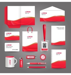 Red wavy abstract business stationery template vector