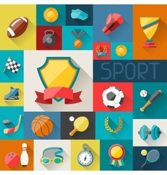 Background with sport icons in flat design style vector
