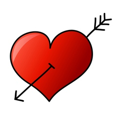 Hand drawn heart with arrow vector