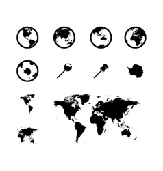 Black world map icons set vector
