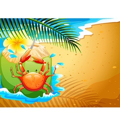 A beach with a refreshing coconut drink and a crab vector
