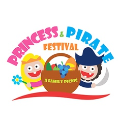 Logo princess and pirate festival a family picnic vector