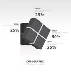 Rotate cube infographic template black color vector