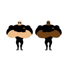 Security guards nightclub two bodybuilder guarding vector