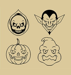 Four halloween character outline vector
