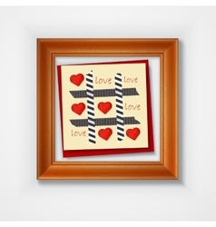 Valentines day card with hearts and words of love vector