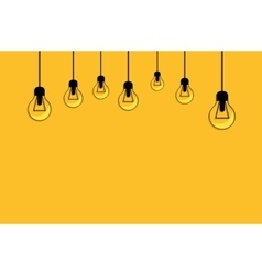 Glowing yellow light bulb idea concept vector