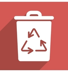 Trash can flat longshadow square icon vector