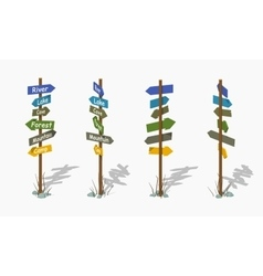 Low poly wooden signpost with the colorful arrows vector