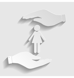 Woman sign paper style icon vector