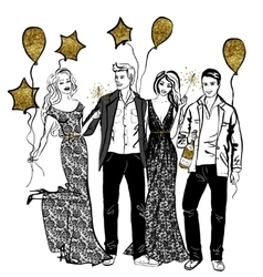 Friends party with baloons vector image
