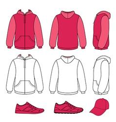 Unisex hoodie cap sneakers set vector