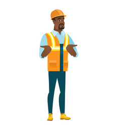 african confused builder shrugging shoulders vector image vector image
