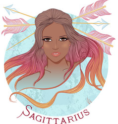 Astrological sign of Sagittarius as a african girl vector image