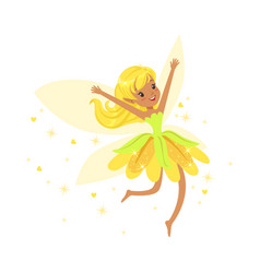 Beautiful smiling yellow fairy girl flying vector