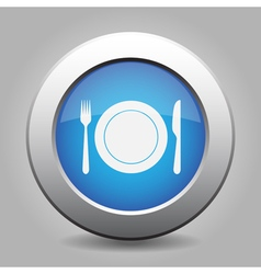 Blue metal button - fork and knife with plate vector