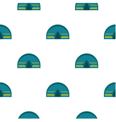 Blue touristic camping tent pattern flat vector