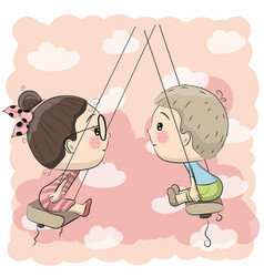 boy and girl on the swing vector image
