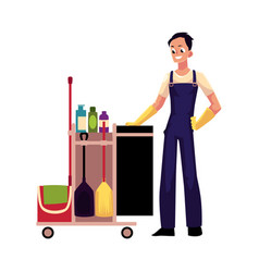Boy man cleaner in overalls with cleaning vector