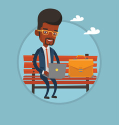 businessman working on laptop outdoor vector image vector image