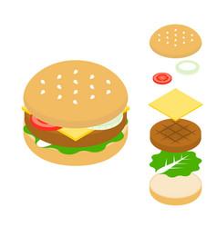 cheeseburger icon vector image vector image