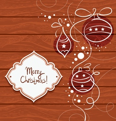 Christmas card with wooden background vector image vector image