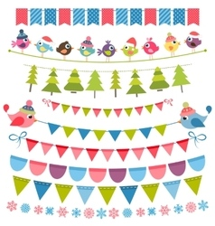 Christmas colorful flags and garlands set vector image vector image