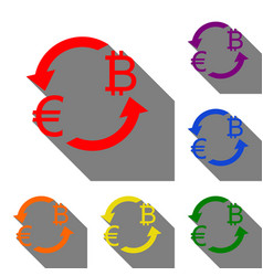 Currency exchange sign euro and bitkoin set of vector