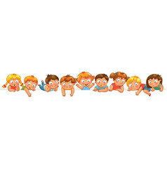 Cute little kids over a white background vector