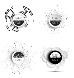 Cyber monday banners set noir style elements for vector